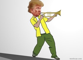 A trumpet is -4 inch right of the head of trump. The trumpet is facing right. A wall is behind trump.