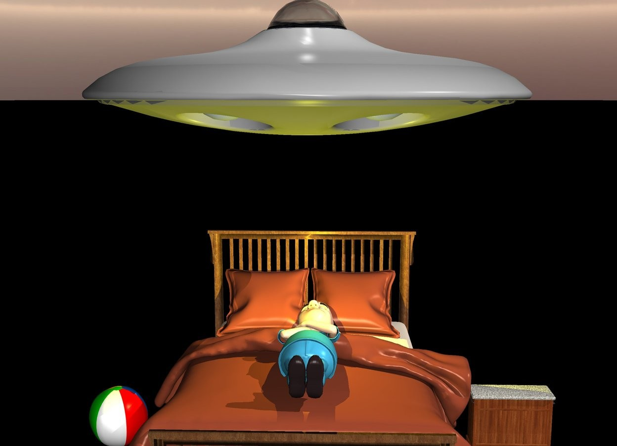 Input text: There is a big bed. On the bed is a first big boy.  the boy faces north. The boy faces up. The bed faces north. The boy is 200 feet above the bed. 6 feet above the bed is an ufo.  above the  ufo is a big light. The ground is black. There is a big yellow light above the boy.  There is a buffet next to the bed.  There is a ball right of the bed.