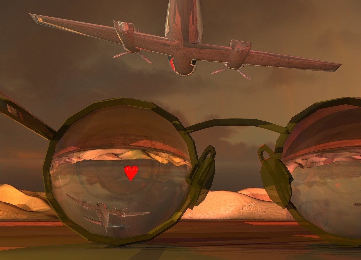 Input text: A huge pair of dark gold eyeglasses is in the desert. An 11 inch wide glass sphere is in front of and -10 inches right of the eyeglasses. An 11 inch wide glass sphere is in front of and -8.5 inches left of the eyeglasses. It is dusk. A dark chrome plane is 14 feet in front of and 8 feet above the eyeglasses. It is leaning 10 degrees to the right. Camera light is black. A scarlet light is above the plane. 2 dim red lights are behind the plane. A blue light is left of the eyeglasses. A lemon light is right of the eyeglasses. A dim yellow light is 2 feet right of and 2 feet above the eyeglasses. A huge heart is 50 feet in front of and 2 feet right of the plane. It is upside down. A silver wall is behind the eyeglasses. A light is 70 feet right of the plane. The azimuth of the sun is 60 degrees.