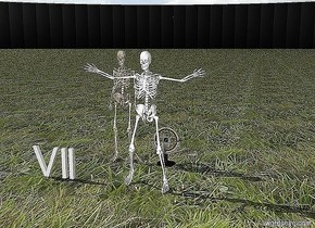 """The skeleton is two feet in front of a globe. The background is black. There is a deep hole one foot behind the globe. The ground is grassy. A bright white """"VII"""" is one foot to the left of the skeleton. Another skeleton is one foot to the left of the globe."""