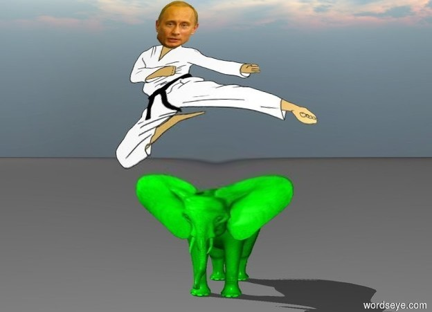 Input text: Putin is riding an little green elephant