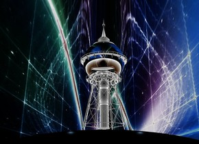 sky is [space].sky is 400 feet tall and 400 feet wide. ambient light is gold.a black sphere.the sphere is 15 inch tall and 40 inch wide.the sphere is 7 inch in the ground.a silver water tower is  above the sphere.the water tower is 15 inch tall.in front of the water tower are two forget me not blue lights.