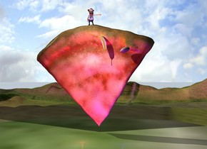 the very humongous pizza is face down. it is leaning 5.5 degrees to the right. the tall ground is grass. the man is -2 feet above the pizza. the very huge feather is 1 foot in front of the pizza. it is 25 feet above the ground. it is to the right of the man. a enormous stone is 4 feet to the right of the feather. it is leaning 20 degrees to the right. a light is above and 1 foot to the left of the feather. it is 6 feet in front of the feather. the camera light is black. a red light is 10 feet in front of the pizza. a blue light is 10 feet to the right of the red light.