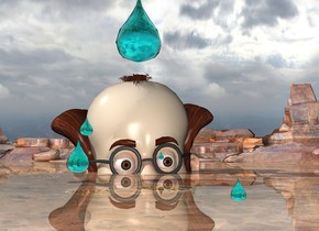 the humongous man is 70 feet in the ground. the fourth aqua fourth drop is 2 feet above the man. it is 20 feet tall. the ground is shiny.  the first very humongous aqua drop is 40 feet in front of the man. it is -25 feet above the man. a second humongous aqua drop is 2 feet in front and to the right of the first drop. it is above the first drop. a third enormous aqua drop is 4 feet to the right of the first drop. it is -15 inches above the first drop. a fifth humongous aqua drop is 5 feet in front of and -35 inches above the first drop. it is 7 feet to the right of the first drop.