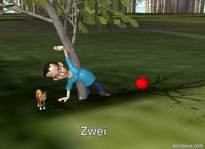 Small dog with teenage boy in green garden under tree. Red ball on grass