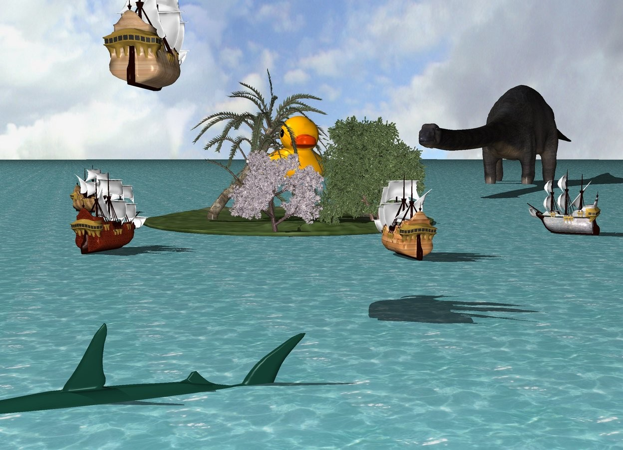 Input text: there are two trees on a grass island. two trees are in front of the trees. the ground is water. the humongous duck is -12 feet above and -40 feet in front of the trees. the tiny [wood] ship is 20 feet in front of the island. it is facing the island. another tiny wood ship is 2 feet southeast of the island. it is facing the island. a third tiny wood ship is 1 foot northwest of the island. it is facing the island. a fourth tiny wood ship is 1 foot southwest of the island. it is facing the island.  a fifth tiny wood ship is 40 feet in front and to the left of the island. it is facing the island. it is 20 feet above the ground.  the large shark is 75 feet in front of and to the left of the island. it is facing left. it is 2 feet in the ground. the huge dinosaur is 20 feet behind and 20 feet to the right of the island. it is facing the island. it is 10 feet in the ground.