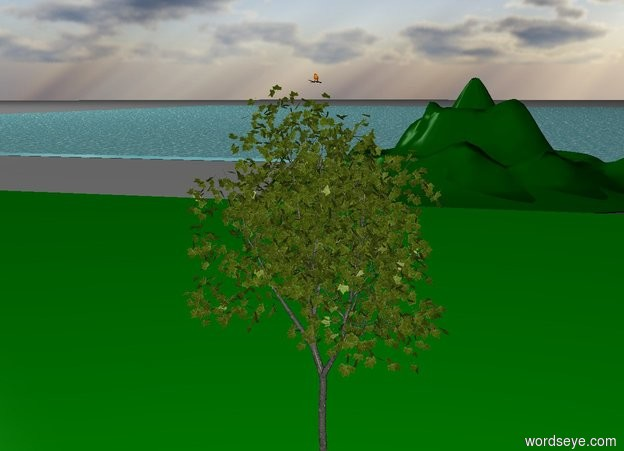 Input text: The bird is on the tree. The tree is over the green grass. The mountain is behind the grass. The ocean is behind the mountain.
