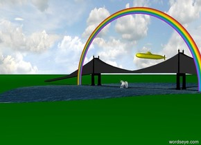unicorn in front of rainbow on top of green ground. Bridge behind rainbow.  yellow submarine in sky. The submarine is behind  the bridge. There is a lake under the bridge. There is a strawberry in the sky.