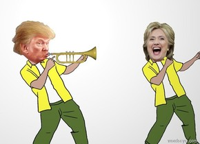 A trumpet is -4 inch right of the head of trump. The trumpet is facing right. A wall is behind hillary. Hillary is 2 feet right of trump