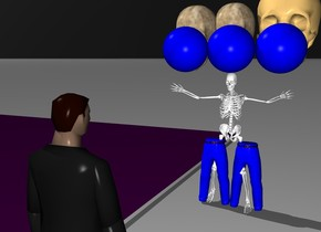 The sky is black.  The floor is purple.  There is a short skeleton in small blue pants.  There are three big skulls behind it.  The skulls are three feet off the ground.  A small human is standing five feet in front of the skeleton.  The human is facing the skeleton.   There are three blue spheres in front of the skulls.