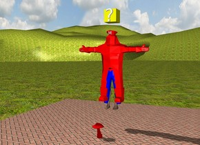 "The valley is grassy. The sky is cloudy. The man is 1.5 feet above the floor. The man is 6.15 feet in a red suit. The suit is in a pair of blue pants. A red hat is on the man. An extremely small ""M"" is in front of the hat. A yellow block is one foot above the man. A question mark is in front of the yellow block. An extremely large red mushroom is on the ground. The mushroom is two feet in front of the man."