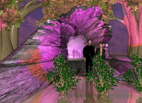 a rock formation arch.the rock formation arch is 30 feet wide.the rock formation arch is 80 feet deep.the rock formation arch is 15 feet tall.the rock formation arch is rock.a man is -20 feet in front of the rock formation arch.a woman is right of the man.the man is black.a first tree is -18 feet right of the rock formation arch.a first bush is 8 feet in front of the man.a 16 feet tall mirror is -20 feet behind the rock formation arch.the mirror is 15 feet wide.a red light is behind the man.a blue light is behind the woman.a second tree is behind the mirror.a second bush is right of the first bush.a third bush is left of the first bush.a third tree is -13 feet left of the rock formation arch.the ground is shiny.the ground is grass.the sun is purple.