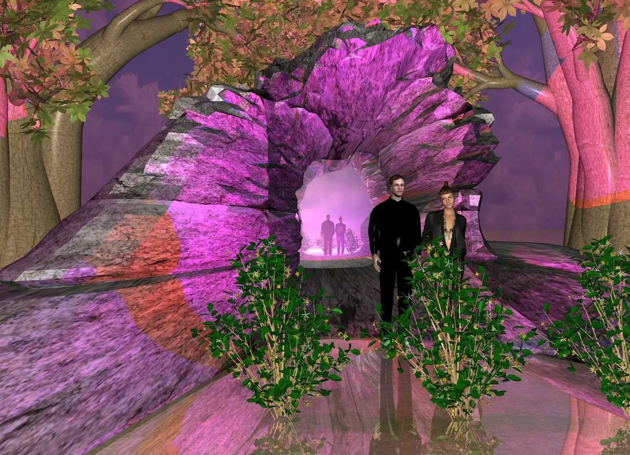 Input text: a rock formation arch.the rock formation arch is 30 feet wide.the rock formation arch is 80 feet deep.the rock formation arch is 15 feet tall.the rock formation arch is rock.a man is -20 feet in front of the rock formation arch.a woman is right of the man.the man is black.a first tree is -18 feet right of the rock formation arch.a first bush is 8 feet in front of the man.a 16 feet tall mirror is -20 feet behind the rock formation arch.the mirror is 15 feet wide.a red light is behind the man.a blue light is behind the woman.a second tree is behind the mirror.a second bush is right of the first bush.a third bush is left of the first bush.a third tree is -13 feet left of the rock formation arch.the ground is shiny.the ground is grass.the sun is purple.