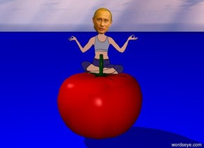 putin on a tomato. tomato is 6 feet high. ground is blue. poop on putins head