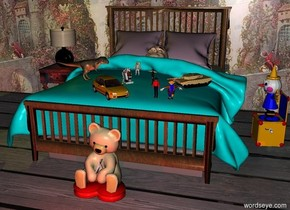 a bed.a 40 feet tall wall is behind the bed.the wall is 100 feet long.the wall is art.a boy is -4.2 feet above the bed.the boy is face up.the boy is leaning 20 degrees to the south.a table is left of the bed.the table is -2 feet behind the bed.a lamp is on the table.a dim yellow light fits inside the lamp.it is night.a 6 inch tall robot is -2.3 feet above the bed.the robot is -2 feet in front of the bed.a 6 inch tall soldier is 6 inches right of the robot.the soldier is facing the robot.the bed's blanket is aqua.the bed's pillow is lilac.a 6 inch tall car is 6 inches in front of the robot.the car is facing southeast.a 7 inch tall clown is 8 inches right of the car.the clown is facing the boy.a 6 inch tall tank is 4 inches right of the soldier.the tank is facing the car.the robot is facing northeast.a 10 inch tall dinosaur is 4 inches left of the robot.the dinosaur is facing the tank.a 7 inch tall astronaut is 10 inches behind the robot.a 3 feet tall jack in the box is right of the bed.the jack in the box is facing the astronaut.the ground is wood.three dim red lights are 2 feet in front of the bed.a teddy bear is in front of the bed.a 7 inch tall cowboy is left of the clown.the cowboy's shirt is red.