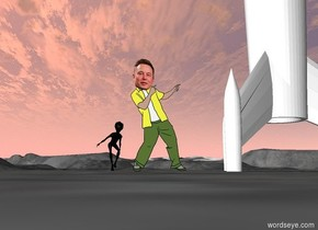 the  rocket is to the right of elon musk. the green alien is 10 feet behind elon musk.