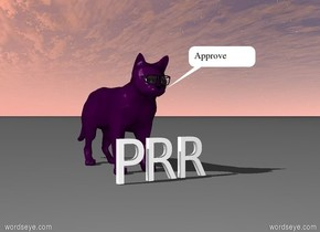 There is a purple giant cat. There is a large pair of black sunglasses -15 inches in front of the cat. the sunglasses are 3.3 feet off the ground. PRR is in front of the cat.