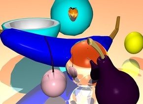 the sky is red orange. the ground is reflective. there is a blue banana beside a silver orange. there is a yellow lime behind the banana. there is a cyan coconut to the left of the banana. there is a pink cherry in front of the orange. there is a gold strawberry on top of the banana. there is a purple pear to the right of the orange.