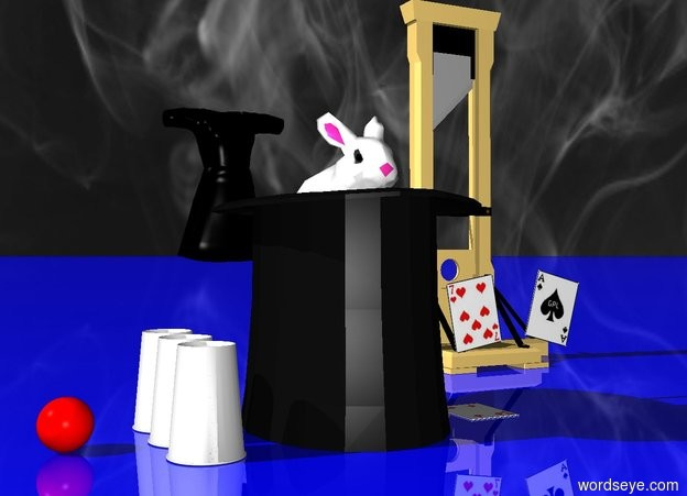 Input text: a 1.2 feet tall top hat.the hat is upside down.a rabbit is -6 inches above the hat.the rabbit is leaning 20 degrees to the north.a  first playing card is right of the hat.a second playing card is 4 inches above the first playing card.the second playing card is face up.the second playing card is leaning 10 degrees to the east.a ace of spades is 2 inches right of the second playing card.the ace of spades is face down.the ace of spades is leaning 15 degrees to the west.there are three cups left of the hat.the three cups are upside down.a tiny red sphere is 3 inches left of the cups.a tiny guillotine is 6 inches behind the hat.the guillotine is 4 inches right of the hat.a group is 12 inches behind the hat.the group is black.the ground is shiny blue.[magic]sky.