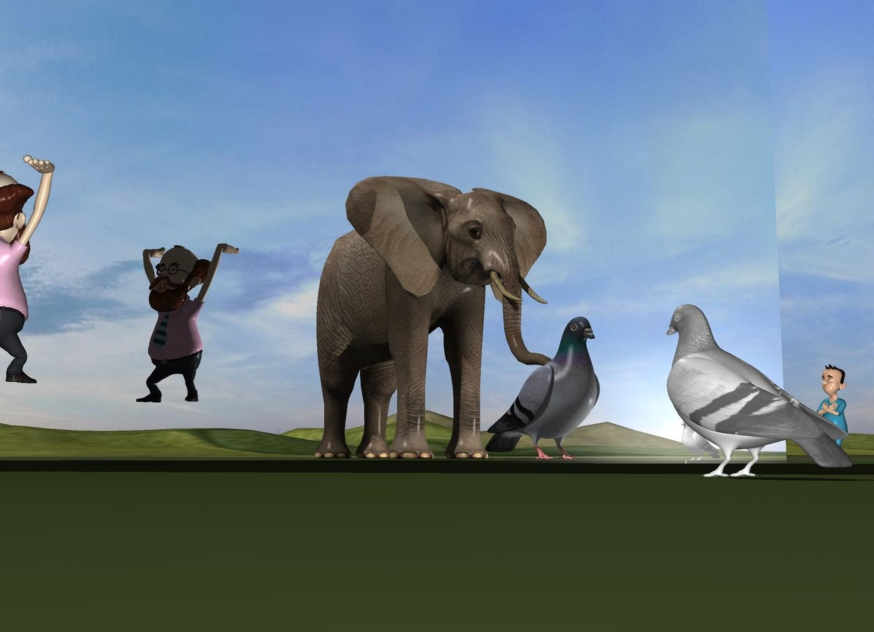 Input text:  an elephant is 4 feet in front of the white pigeon. the silver wall is 5 feet to the left of the pigeon. it is facing southeast. the pigeon is facing the wall. the elephant is facing backwards. the small man is 5 inches in front and 9 feet to the left of the pigeon. he is facing the wall. he is 1 foot above the ground. the tiny boy is behind and to the right of the wall. the ground is grass. a very large second pigeon is -3 feet behind the elephant. it is facing back.