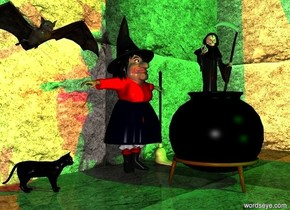 a witch.a black cat is 1 feet left of the witch.the cat is facing southeast.a broom is -7.3 inches right of the witch.the broom is -19.5 inches behind the witch.a black cauldron is 1 feet in front of the witch.death is -10 inches above the cauldron.death is 3 feet tall.death is facing southwest.a  first 40 feet tall rock wall is 6 inches behind the witch.a second 40 feet tall rock wall is right of the first rock wall.the second rock wall is facing left.the ground is rock.it is night.a green light is 1 feet above the witch.a 1 feet tall bat is 3 feet above the cat.two green lights are 6 feet in front of the cauldron.a red light is above the cauldron.the witch's shirt is red.