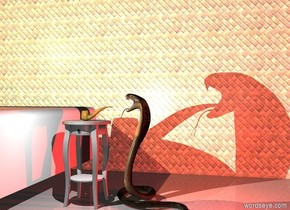 a large pipe is on a large table. the pipe is -13 inches to the right of the table. a cobra is to the right of the table. the cobra is facing the table. an enormous tile wall is 5 feet behind the table. a large white bed is 1 foot to the left of the table. the bed is facing front. a red light is 1 inch to the right of the snake. the light is 1 feet over the ground. a white light is in front of the table. the light is 3 feet over the ground. a coral light is 1 foot over the bed. the camera light is dim.
