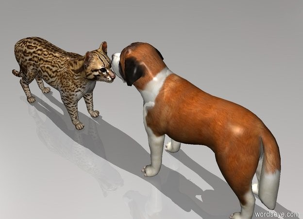 Input text: a cat is facing a dog. the dog is facing the cat.