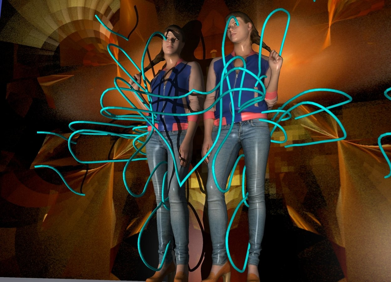 Input text:  a woman is -65 inch above  the 1st cyan rope.the 1st rope leans 90 degrees to west.a 2nd cyan rope is -30 inch above the woman.a 3rd cyan rope is -60 inch above the woman.the 3rd rope leans 60 degrees to east.a 4th cyan rope is -50 inch above the woman. the 4th rope leans 30 degrees to northwest.behind the woman is a [KAWE31] wall.the wall is 100 inch tall and 145 inch wide.the woman is 50 inch above the ground.left of the woman is a silver wall. the silver wall is facing right.