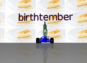 """the cat is -0.6 foot above the small blue car. the cat is green. the party cone is -0.1 foot above the cat. the party cone is -0.7 foot in front of the cat. the  purple """"birthtember"""" is above the party cone. the sky is [cake]. the [cake] is 600 feet tall."""