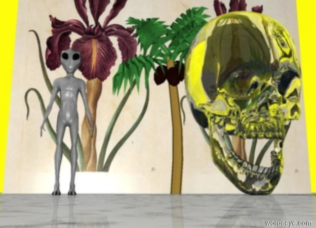 Input text: The ground is marble. The sky is yellow and purple. An 8 feet tall transparent skull. 4 feet next to the skull is a 6 feet tall alien. A 15 feet tall palm tree is 6 feet behind the skull. A 25 feet long 20 feet tall floral wall is behind the palm tree.