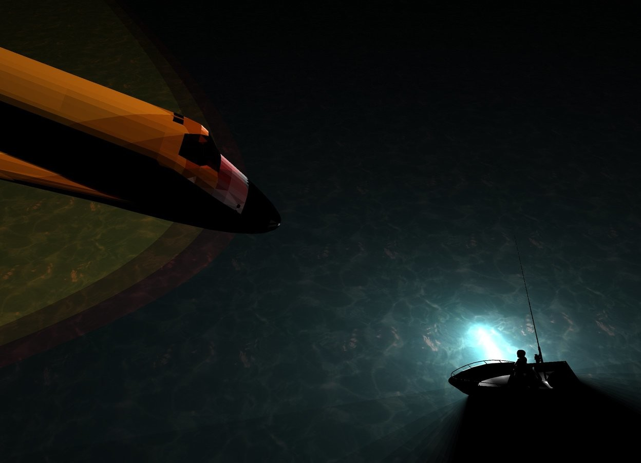 Input text: A boat is in an ocean. 12 lights are 3 feet below the boat. Camera light is black. A man is -4 feet above the boat. He is facing southwest. A small spaceship is 15 feet above and 9 feet south of the boat. It is facing north. It is leaning 25 degrees to the front. A huge hollow black tube is 20 feet behind and -15 feet above the spaceship. It is leaning 80 degrees to the back. 2 dim red lights are -1 feet in front of the tube. A huge hollow black tube is 15 feet behind and -10 feet above the spaceship. It is leaning 80 degrees to the back. 2 dim lemon lights are -1 feet in front of the tube. A huge hollow black tube is 18 feet behind and -12 feet above the spaceship. It is leaning 80 degrees to the back. 2 dim orange lights are -1 feet in front of the tube. A large fishing rod is above the man. It is facing west. It is leaning 40 degrees to the back. It is night.