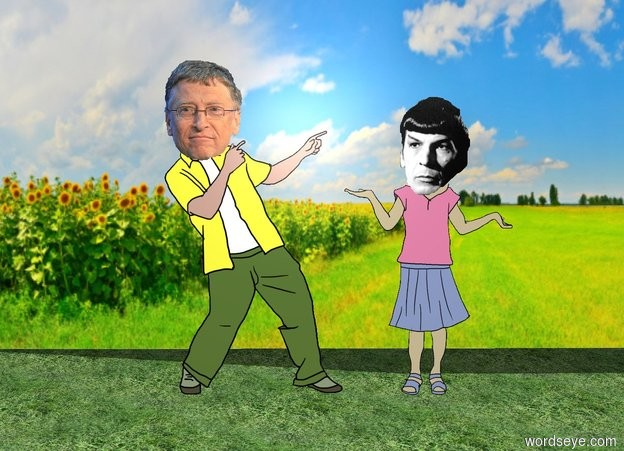 Input text: bill gates is next to leonard nimoy. the ground is grass.  a [flower] wall is 3 feet behind nimoy.