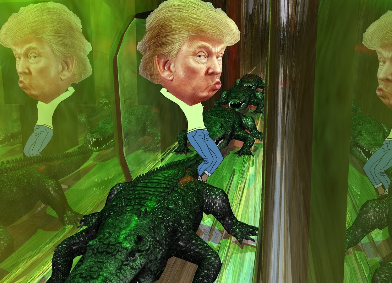 Input text: trump is on the plate. trump's head is 4 feet tall. the gold ground is 50 feet wide. the green crocodile is 4 feet behind the trump. another green crocodile is behind the crocodile. another green crocodile is behind the crocodile. the red light is 3 feet above the crocodile. the lime light is above and in front of the trump. another green crocodile is -4 feet in front of the trump.