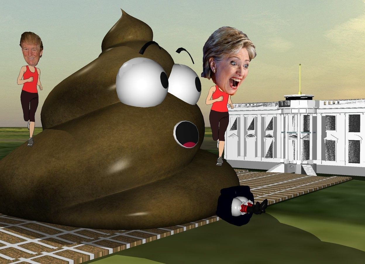 Input text: the humongous poop is on the road. it is facing right. the road is 50 feet long. it is gold brick. Hillary is -9 feet above and -1 feet to the right of the poop. Hillary is facing southeast. her head is big. the extremely small solid white house is behind the road. the witch is -4 feet to the right of the poop. she is facing right. she is face up. the ground is grass.  the trump is -1 feet in front of the poop. he is -8 feet above the poop. he is facing right.