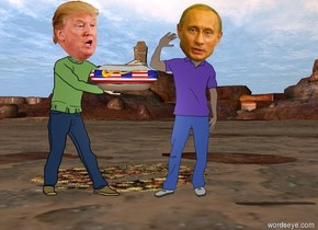the big american hot dog is -21 inches to the right of  trump. it is 3.2 feet above the ground.  putin is to the right of trump.