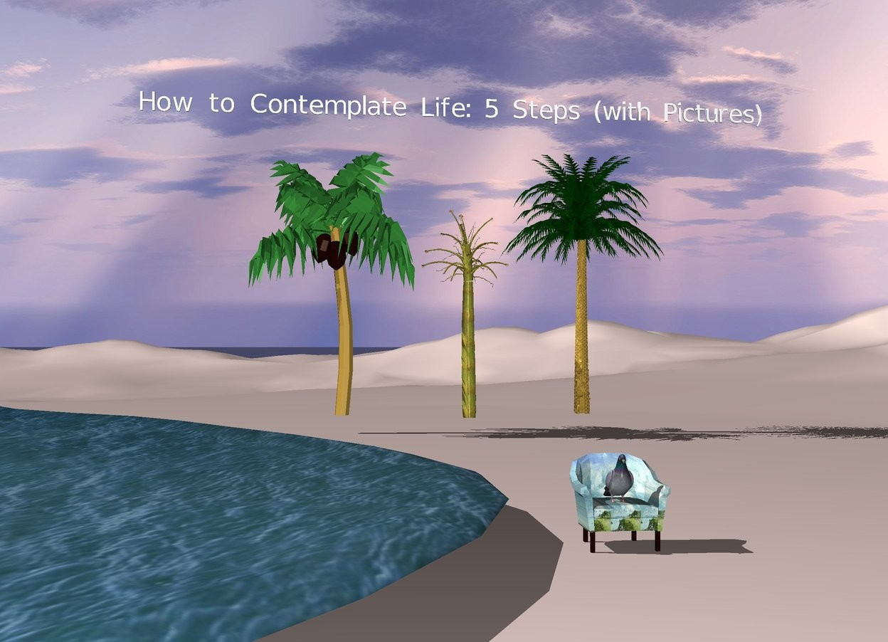 "Input text: sky. a large dove on a beach chair. the ground is baby pink. A lake 3 feet to the left of the dove. 3 small palm trees 40 feet behind the dove. ""How to Contemplate Life: 5 Steps (with Pictures)"" 3 feet above the palm trees"