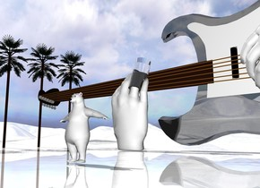 4 tiny trees are 10 feet to the left of the enormous white hand. the hand is facing back. a large clear cylinder is -1.5 foot above and -1.3 feet to the right of the hand. it is leaning 20 degrees to the back. the black shiny guitar is behind the hand. the guitar is 9 feet tall. another enormous hand is -7 feet above the guitar. it is upside down. it is in front and -7 feet to the right of the guitar. it is facing back. it is leaning 40 degrees to the right. the ground is shiny white. the very small polar bear is 10 feet in front of the guitar. it is 4 feet to the right of the white hand.