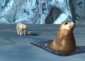 a ice cube.the ice cube is 7 feet deep.the ice cube is 4 feet wide.the ice cube is 2 feet tall.a seal is -2 feet above the ice cube.a cyan light is in front of the seal.the seal is 4 inches in the ground.the ice cube is 22 inches in the ground.a bear is 6 feet behind the ice cube.the bear is on the ground.a first 1 feet tall bear is 6 inches right of the bear.