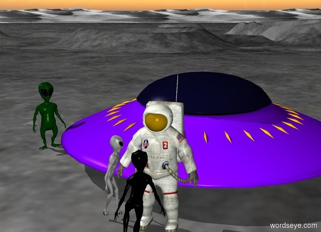 Input text: the first alien  is facing the astronaut. the second alien is facing the astronaut. the third alien is facing the astronaut. the second alien is in front of the astronaut. the first alien is left of the astronaut. a spaceship is behind the astronaut