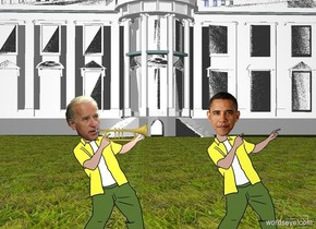 A trumpet is -2 inch right of the head of joe. The trumpet is facing right. the white house is 100 feet behind barack. barack is 2 feet right of joe. the ground is grass