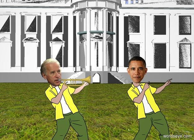 Input text: A trumpet is -2 inch right of the head of joe. The trumpet is facing right. the white house is 100 feet behind barack. barack is 2 feet right of joe. the ground is grass