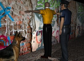 [street art]long wall. a first man is facing the wall. the first man is 2 feet in front of the wall. There is a police officer in front of the first man. The police officer faces the first man. On the left of the man is a dog.  The dog faces the man. the ground is pavement. It is night. There is a white light 1 inch behind the police officer.