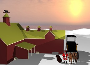 There is a barn in the mountains.  The barn is brown. The ground is snow. On the right of the barn is a black carriage. In front of the carriage are two horses. The horses face south.  Next to the horses is santa. Next to santa is a big bag. Above the carriage is a white light.