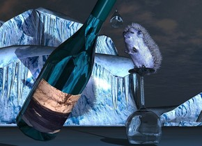 The label of a bottle is 4 inch wide image-10771. The bottle is facing west. It is leaning 40 degrees to the front. The bottle is clear dark cyan. An upside down glass is 6 inches in front of and -11.9 inches above the bottle. A small baby blue hedgehog is -1.3 inch above the glass. It is facing the bottle. It is leaning 40 degrees to the back. A huge pale cyan drop is 0.2 inch right of and -0.2 inch above the hedgehog. The sun is black. A light is left of the bottle. Camera light is pale blue. A dim navy light is -1 inch left of the bottle.