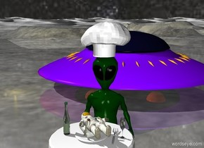 a tiny man is on a plate. the plate is on a table. an alien is facing the table. the man is unreflective. the sky has a starfield texture. the ground is shiny. a large hat is on the alien. the light is gold. the man is facing up. a bottle is 2 inches left of the plate. a spaceship is 10 feet behind the table. the alien is 1 foot behind the table.  a fork is 1 inch right of the plate. a glass  is 4 inches right of the plate.