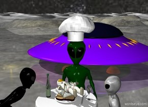 a tiny man is on large toast. the toast is on a plate. the plate is on a table. an alien is facing the table. the man is unreflective. the sky has a starfield texture. the ground is shiny. a large hat is on the alien. the light is gold. the man is facing up. a bottle is 2 inches left of the plate. a spaceship is 10 feet behind the table. the alien is 1 foot behind the table.  a fork is 1 inch right of the plate. a glass  is 4 inches right of the plate.  A second alien is left of the table. the second alien is facing the table. a third alien is right of the table. the third alien is facing the table.