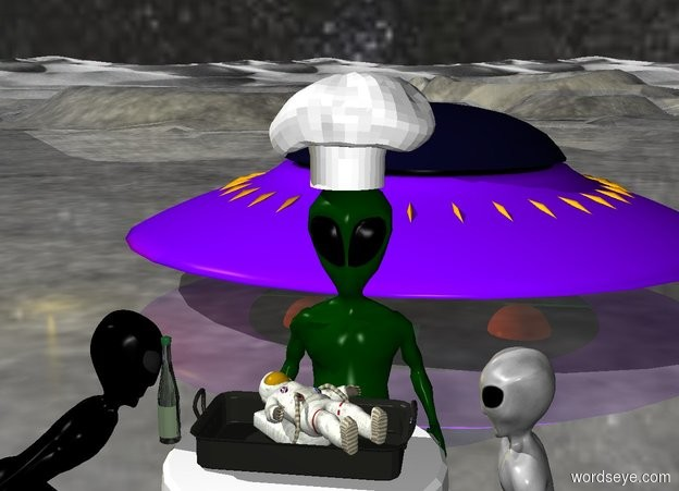 Input text: a tiny man is on a pan. the pan is on a table. an alien is facing the table. the man is unreflective. the sky has a starfield texture. the ground is shiny. a large hat is on the alien. the light is gold. the man is facing up. a bottle is 2 inches left of the pan. a spaceship is 10 feet behind the table. the alien is 1 foot behind the table. A second alien is left of the table. the second alien is facing the table. a third alien is right of the table. the third alien is facing the table.