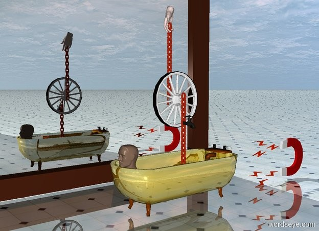 Input text: a gold bath.a wheel is 10 inches above the bath.a first rust chain is right of the wheel.the first chain is face up.a second rust chain is left of the wheel.the second chain is face up.the first chain is -45 inches above the wheel.the second chain is -15 inches above the wheel.a large baby pink hand is -5 inches above the second chain.a part is 1 inches right of the wheel.a 2 feet tall magnet is 20 inches behind the bath.the magnet is facing left.a head is -10 inches in front of the bath.the head is 1.5 feet above the ground.the ground is shiny tile.a mirror is 3 feet left of the bath.the mirror is facing the bath.the mirror is 12 feet wide.