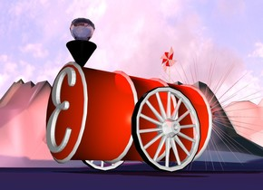 a barrel.the barrel is face up.a funnel is -10 inches in front of the barrel.the funnel is -3 inches above the barrel.a humongous  drop is -3 inches above the funnel.the drop is upside down.a first wheel is right of the barrel.the barrel is 2 inches above the ground.the first wheel is on the ground.a second wheel is left of the barrel.the second wheel is on the ground.a pinwheel is -8 inches behind the barrel.the pinwheel is -4 inches above the barrel.a symbol is in front of the barrel.the symbol is 5 inches above the ground.a super red sun symbol is -15 inches behind the barrel.the sun symbol is 2 inches in the ground.the ground is 250 feet tall.the ground is picture.a red light is above the drop.the funnel is black.the sun is pink.