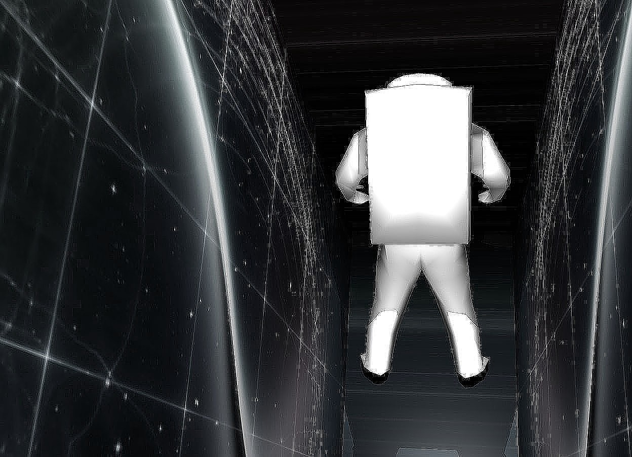 Input text: a 5 foot tall and 2 foot wide and 10 foot deep [Space] machine. it is leaning  back. a light is -2 feet above the machine. a 3 foot tall person is -4 foot behind and -5 feet above the machine. the person is facing back. he is leaning back.